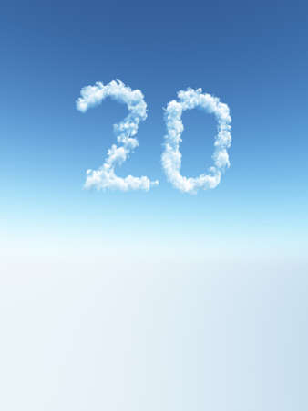 3 year old: clouds makes the shape of number twenty - 3d illustration Stock Photo