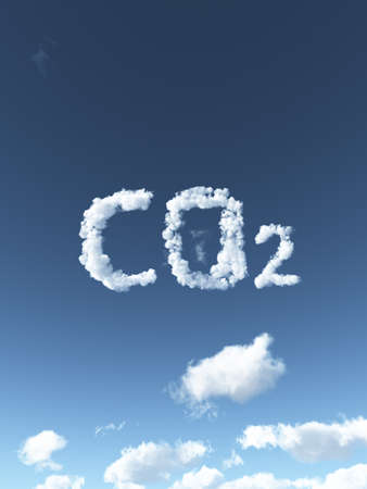 greenhouses: clouds forms the symbol co2 - 3d illustration Stock Photo