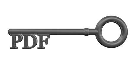 metal key with pdf tag - 3d illustration Stock Illustration - 14780830
