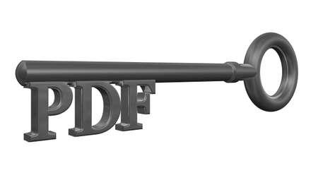 metal key with pdf tag - 3d illustration Stock Illustration - 14780831