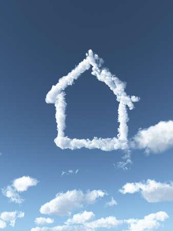 구름이 하늘에 집을 형성 - 3D 그림