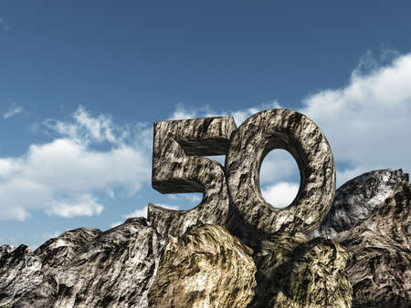 number fifty rock - 3d illustration illustration