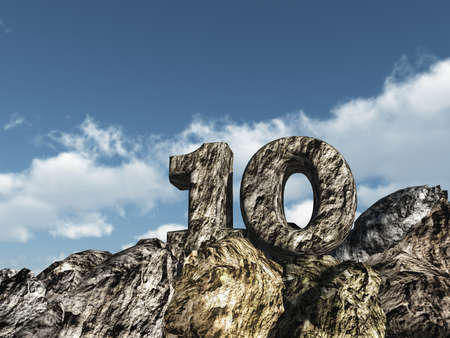 number ten: number ten rock under cloudy blue sky - 3d illustration Stock Photo