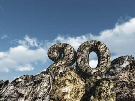 number twenty rock under cloudy blue sky - 3d illustration illustration