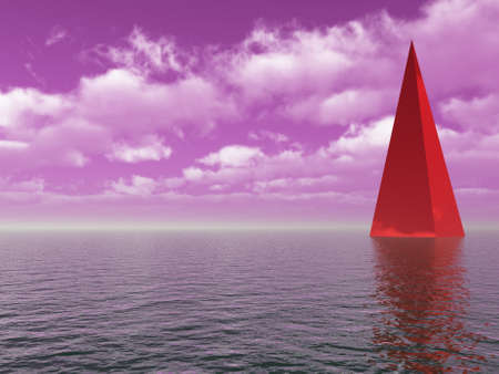 red pyramid on water under purple sky - 3d illustration