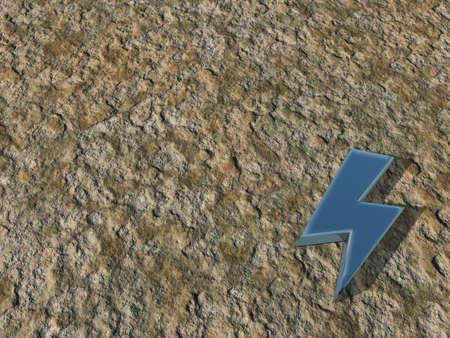flash symbol on stone background - 3d illustration illustration