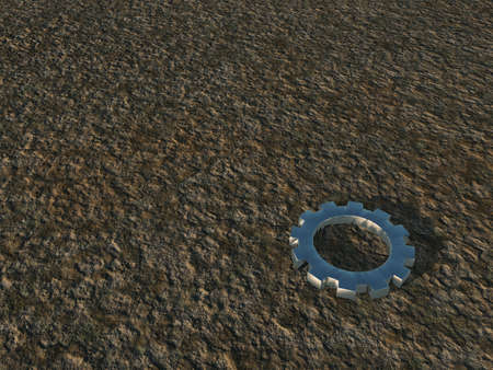 gear wheel on stone surface - 3d illustration illustration