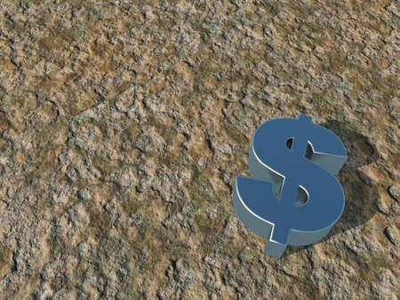 metal dollar symbol on stone surface - 3d illustration