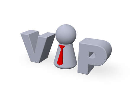 vip tag with play figure - 3d illustration Stock Illustration - 14983839