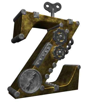 steampunk letter z on white background - 3d illustration Stock Photo