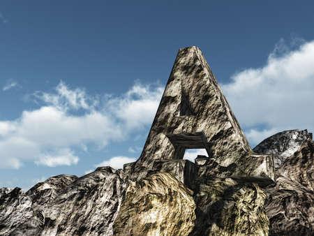 letter a rock under blue sky - 3d illustration Stock Illustration - 15025157