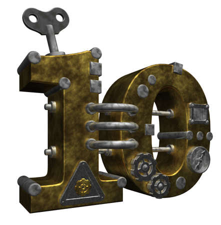 number ten: steampunk number ten on white background - 3d illustration