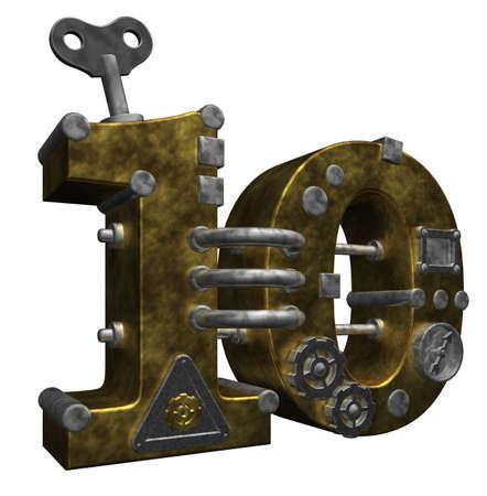 steampunk number ten on white background - 3d illustration