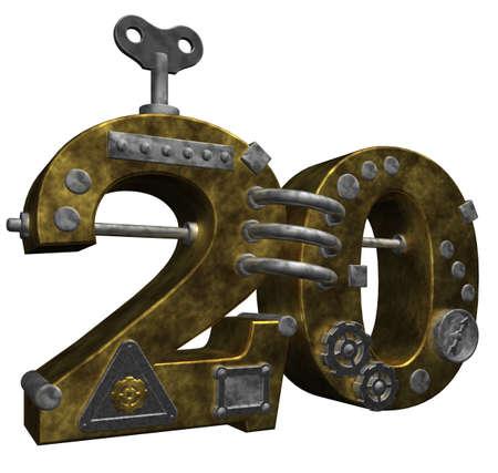 dieselpunk: steampunk number twenty on white background - 3d illustration Stock Photo