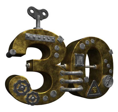 dieselpunk: steampunk number thirty on white background - 3d illustration Stock Photo