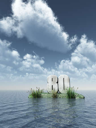 eighty: number eighty monument at the ocean - 3d illustration Stock Photo