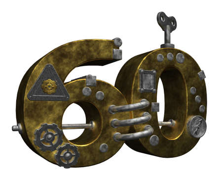 sixty: steampunk number sixty on white background - 3d illustration Stock Photo
