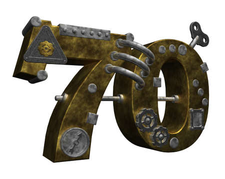 70 years: steampunk number seventy on white background - 3d illustration Stock Photo