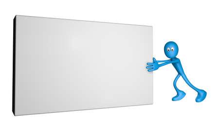 pushes: blue guy pushes blank box - 3d illustration