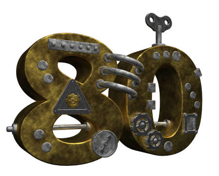 dieselpunk: steampunk number eighty on white background - 3d illustration