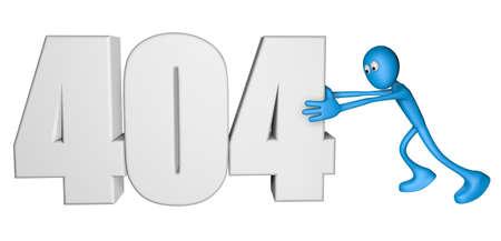 blue guy pushes number 404 - 3d illustration