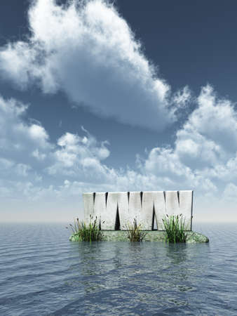 www monument at the ocean - 3d illustration Stock Illustration - 15098317