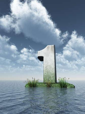numero uno: piedra número uno en el océano - ilustración 3d Foto de archivo