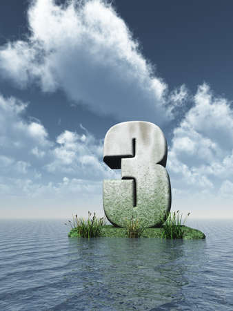 numerical value: stone number three at the ocean - 3d illustration