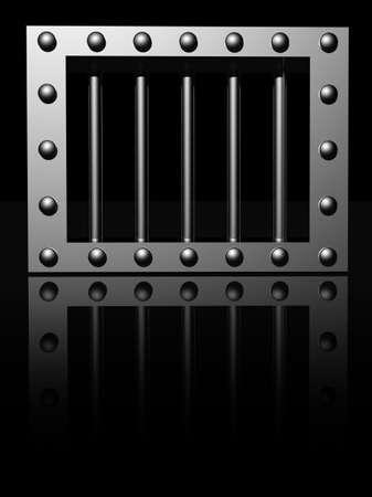 riveted steel prison window - 3d illustration illustration