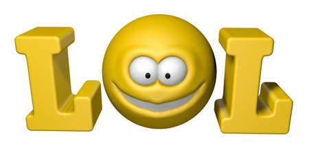 slang: the word lol with smiley - 3d illustration