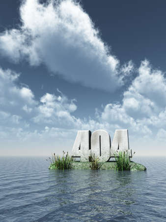 not a problem: number 404 monument at water - 3d illustration