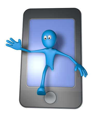 blue guy and smartphone - 3d illustration illustration