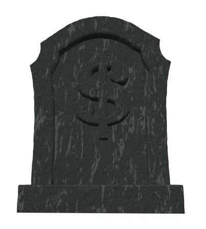 gravestone with dollar symbol on white background - 3d illustration Stock Photo