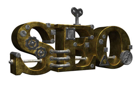 retro industrial letters seo on white background - 3d illustration Stock Illustration - 15504004