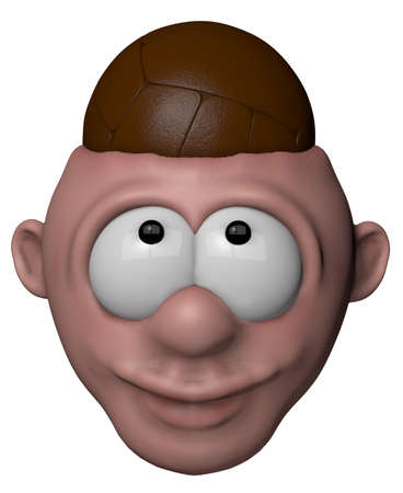 man with volleyball in his head - 3d illustration Stock Illustration - 15503999