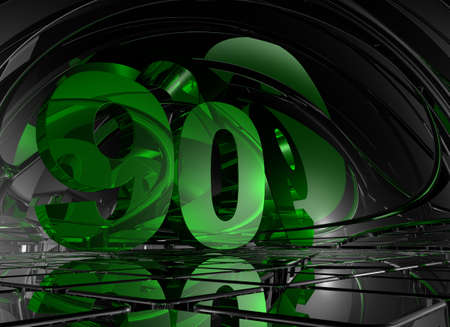 ninety: number ninety in abstract mirror space - 3d illustration