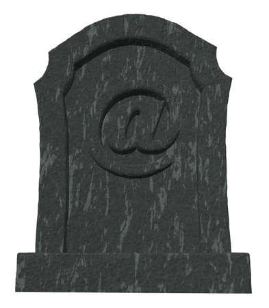 gravestone with email symbol on white background - 3d illustration illustration