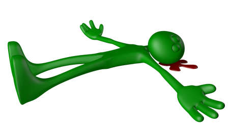 bloodstain: dead green guy in blood - 3d illustration
