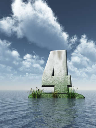 numerical value: stone number four at the ocean - 3d illustration Stock Photo