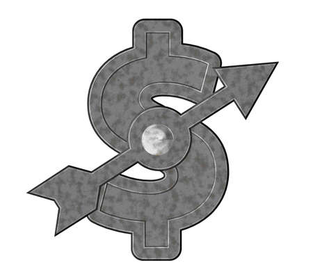 conjuncture: metal dollar symbol with arrow - 3d illustration