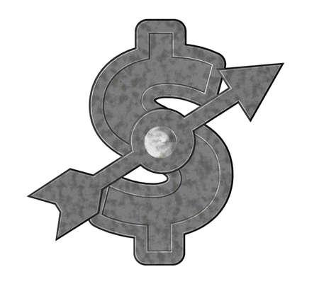 metal dollar symbol with arrow - 3d illustration