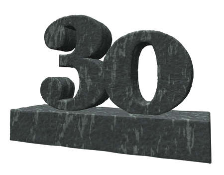 thirty: number thirty monument - 3d illustration