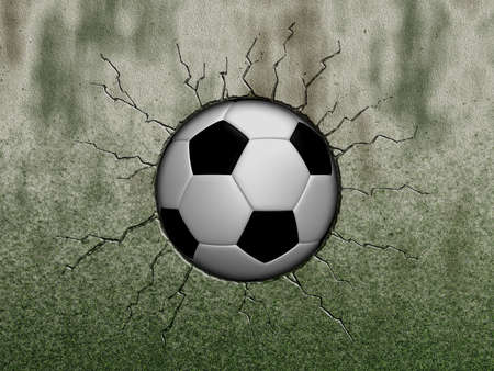 cracked wall: soccer ball in wound - 3d illustration