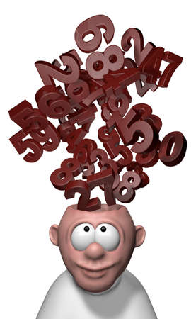 bunch of numbers over cartoon mans head - 3d illustration illustration