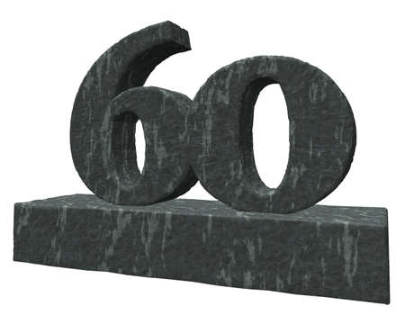 sixty: number sixty monument - 3d illustration
