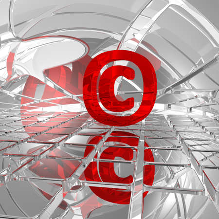 own: copyright symbol in abstract space - 3d illustration Stock Photo
