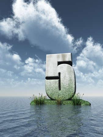 five objects: pietra numero cinque l'oceano - 3d illustration
