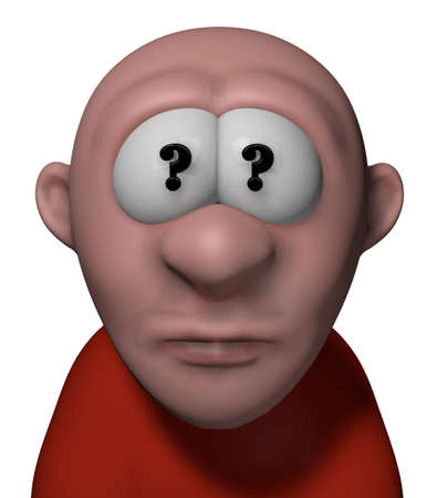 cartoon man with question mark in his eyes - 3d illustration Stock Illustration - 15256752