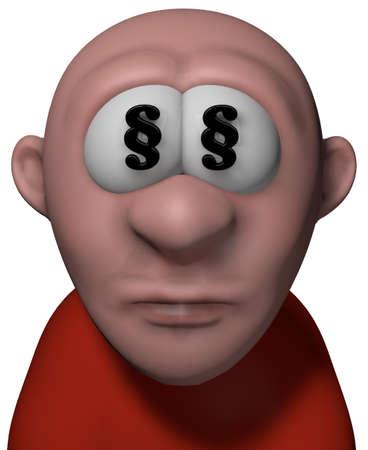 cartoon man with paragraph symbols in his eyes - 3d illustration illustration