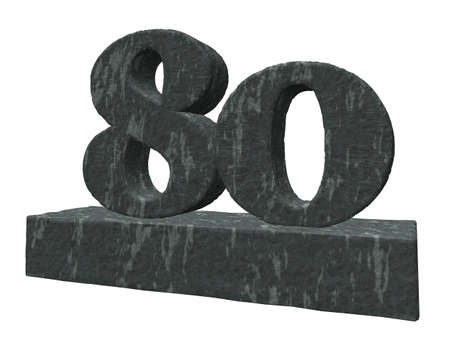 eighty: number eighty monument on white background - 3d illustration Stock Photo